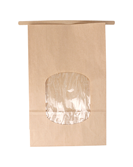 sacchetti sos con chiusura con finestra 60 g/m2 + 25µ opp 15,5+7x24,2 cm naturale kraft (500 unitÀ)