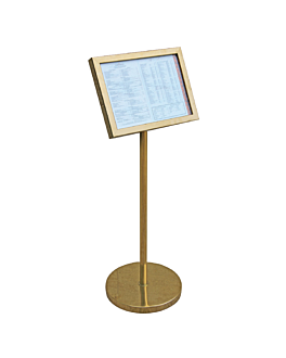 menu stand din-a3 with bilt-in base 27,5x115 cm gold metal (1 unit)