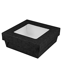 small boxes+lids w/window 500 ml 270 + 18 pe gsm 12x12x5 cm black cardboard (250 unit)