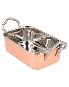 mini pans with handles 14,5x9,5x4,5 cm copper stainless steel (6 unit)