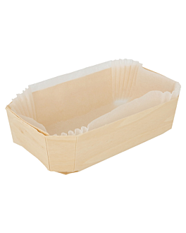 400 u. wooden containers + siliconed molds 14x9x4,5 cm natural wood (400 unit)