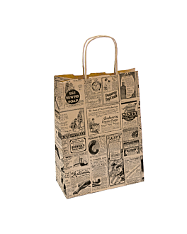 sos bags with handles 'times' 80 gsm 20+10x29 cm natural kraft (250 unit)