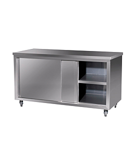 table with wheels & doors 60x120x85 cm silver stainless steel (1 unit)