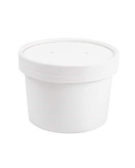 containers + lids 240 ml 18pe + 340 + 18 pe gsm Ø9/7,5x6 cm white cardboard (250 unit)