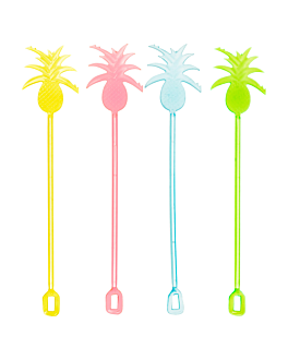 "stirrers for drinks ""pineapple"" 23,5 cm assorted ps (100 unit)"