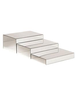 3 u. stands buffet miroir 30x25x2,5/7,5/13 cm acrylique (1 unitÉ)