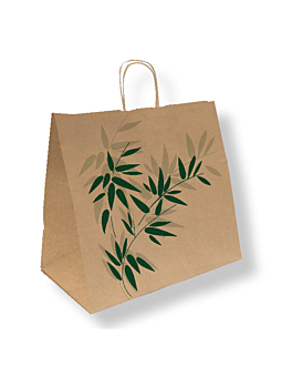 "bolsas sos con asas ""traiteur"" 'feel green' 90 g/m2 36+21x33,5 cm natural kraft (250 unid.)"