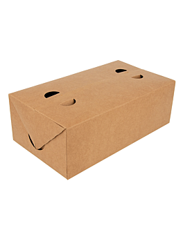 cajas comida para llevar 2 l 300 g/m2 13x23x8 cm marrÓn cartoncillo (50 unid.)