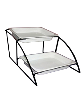 stand 2 niveaux bacs gn 1/2 36 cm noir fer (1 unitÉ)