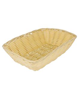 cestas sÍmil mimbre rectangulares 22x14x6,5 cm natural pp (12 unid.)