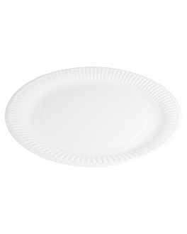 piatti rotondo goffrati bio-laccati 237 g/m2 Ø 23 cm bianco cartone (800 unitÀ)
