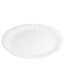 round embossed bio-lacquered plates 237 gsm Ø 23 cm white cardboard (800 unit)