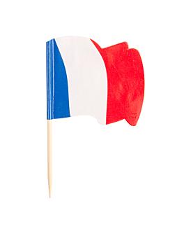 """petits drapeaux """"france"""" 4x3/6,5 cm assorti bois (144 unitÉ)"""