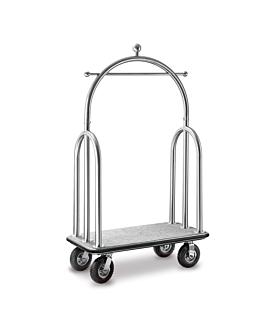 porta-malas de luxo com cÚpula 110x61x191 cm prateado latÃo (1 unidade)