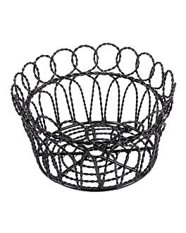 round basket Ø 19x10 cm black steel (1 unit)