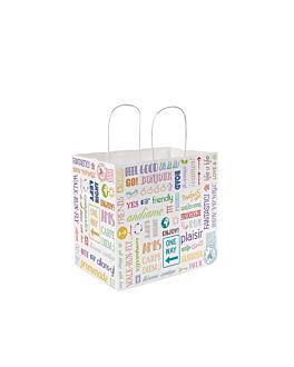 """sos bags with handles """"traiteur"""" 'parole' 90 gsm 32+21x28,5 cm white cellulose (250 unit)"""