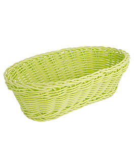 elongated baskets imitation wicker 23x9x8 cm aniseed green pp (12 unit)