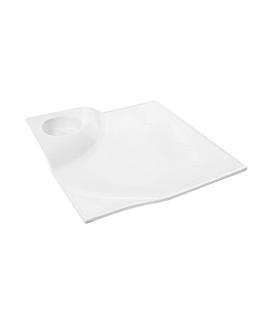 assiettes carrÉes 30,5x4 cm blanc porcelaine (3 unitÉ)