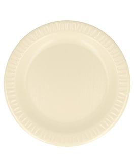 assiettes en foam laminÉes avec pe Ø 18 cm amande pse (1000 unitÉ)