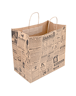 "sos bags with handles ""traiteur"" 'times' 90 gsm 36+21x33,5 cm natural kraft (250 unit)"
