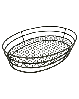 oval basket 28x20,5x5,7 cm black steel (24 unit)