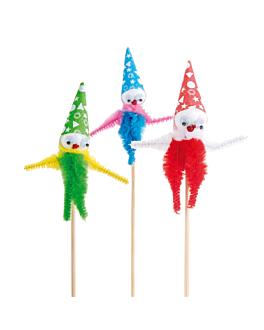"72 u. decorazioni per gelati ""chenille clown"" 15 cm colori varie legno (1 unitÀ)"