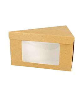 triangular cake boxes+window 14,4x8,5x9 cm brown cardboard (600 unit)