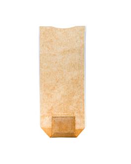 sachets con base y ventana pp 10x22 cm natural kraft (100 unid.)