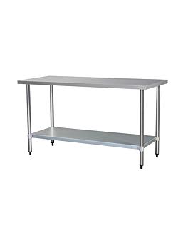 mesa trabajo 2 niveles 120x70 cm plateado acero (1 unid.)