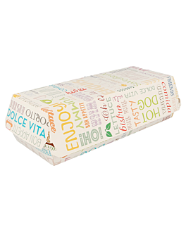 "boÎtes ""panini"" 'parole' 275 g/m2 26x12x7 cm blanc carton (300 unitÉ)"