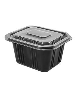 barquillas + tapas microondables 500 ml 13,9x11,9x6 cm negro pp (600 unid.)