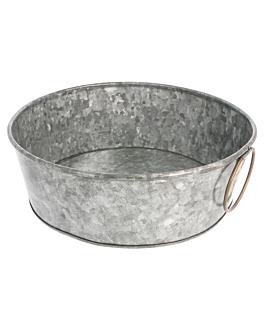 vassoio rotondo Ø 23x8 cm zincato acciaio (1 unitÀ)