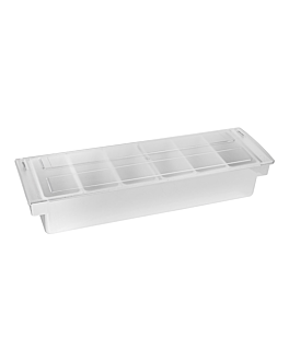 condiment container 6 compart. 49,5x15,7x9 cm chroming ps (1 unit)