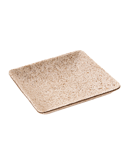 recipiente cuadrado 'bionic' 6,5x6,5x1,2 cm natural bagazo (1000 unid.)