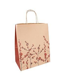 "sacs sos avec anses ""christmas"" 80 g/m2 26+14x32 cm naturel kraft (250 unitÉ)"