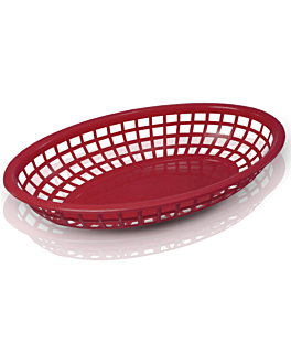 oval baskets 24x15x4,5 cm red pp (12 unit)