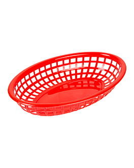 cestino ovale 24x15x4,5 cm rosso pp (12 unitÀ)