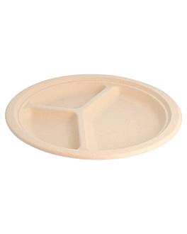 assiettes 3 compart. 'bionic' Ø 26x2,6 cm naturel bagasse (800 unitÉ)