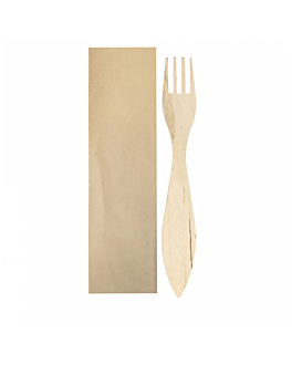 eel forks individually wrapped kraft 15 cm natural wood (100 unit)