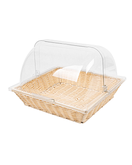 basket imitation wicker with cover 36x33,5x27,5 cm beige pp (1 unit)