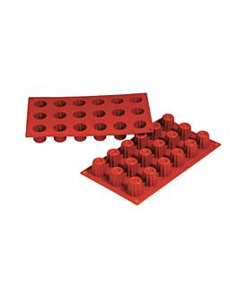 molde bordelais Ø 3,5x3,5 cm 17,5x30 cm rojo silicona (1 unid.)