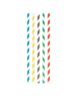 pajitas rectas a rayas Ø0,8x23,5 cm surtido papel (3000 unid.)