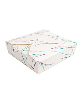 """scatole americane per microonde 2500 ml """"volare"""" 305 + 18pe g/m2 21,7x21,7x6 cm bianco cartone (140 unitÀ)"""