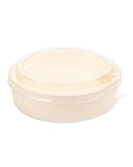 combo containers + pet lids Ø17,5x5,5 cm natural wood (100 unit)