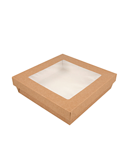 small boxes+lids w/window 1000 ml 290 + 18 pe gsm 18,5x18,5x4 cm brown cardboard (200 unit)