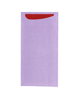 cutlery sachets + airlaid burgundy napkin 33x40 cm 'just in time' 90 + 10pe gsm 11,2x22,5 m parma cellulose (250 unit)