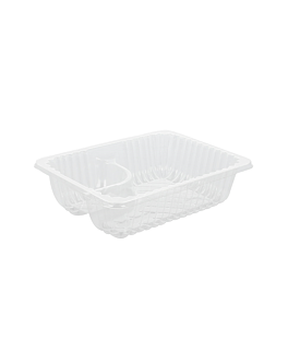 2 compartments trays 'nachos' 14,5x10,5x4 cm clear ops (750 unit)