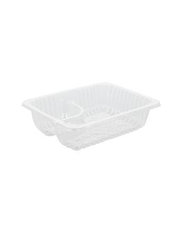 barquillas 2 compartimentos 'nachos' 14,5x10,5x4 cm transparente ops (750 unid.)
