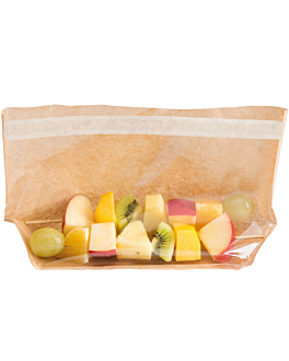bags with base and window self-sealing 'turtle pack' 50 gsm + 15 pp 27x15x4/4 cm natural kraft (100 unit)