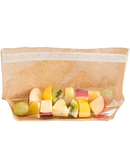 sacos com base e janela auto-fecho 'turtle pack' 50 g/m2 + 15 pp 27x15x4/4 cm natural kraft (100 unidade)